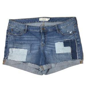 Torrid Patchwork Distressed Stretchy Denim Shorts